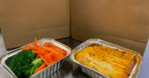 Cottage pie and vegetable portions from Langan's Tea Rooms in Burton