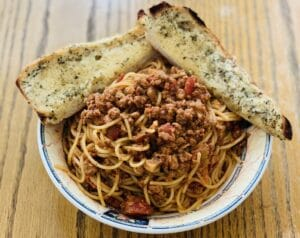 Spaghetti bolognese from Langan's Tea Rooms in Burton